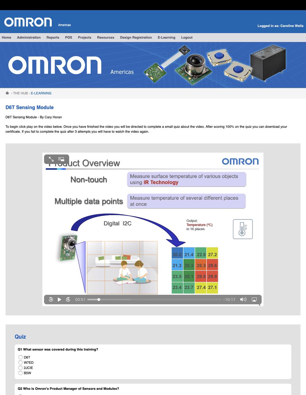 Screen grab of OMRON e-learning